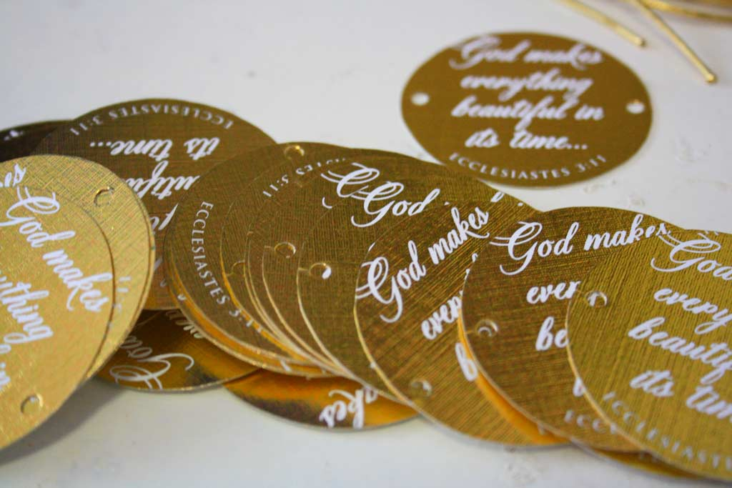 Gold Tags for Wedding Invitaion