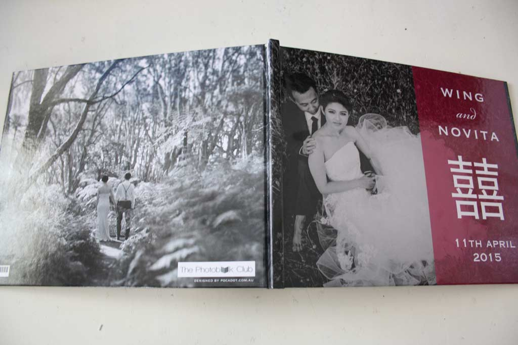 The front cover of Wing and Novita's Wedding Guest Book